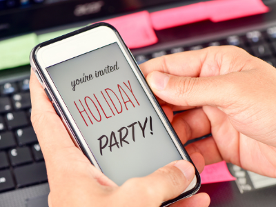 Phone with invite to holiday party