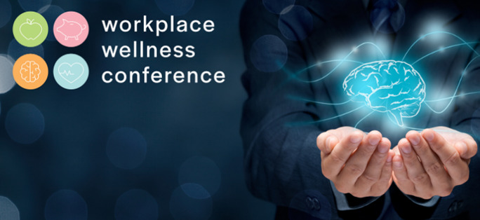 Two hands holding an image of a brain, promoting the workplace wellness conference
